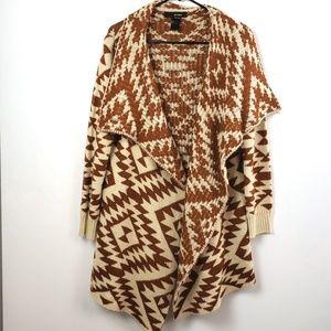 ali Miles women's Aztec Open Front Cardigan size M